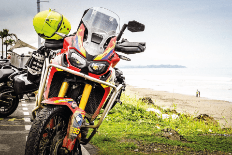 Africa Twin at the beach in Manabi