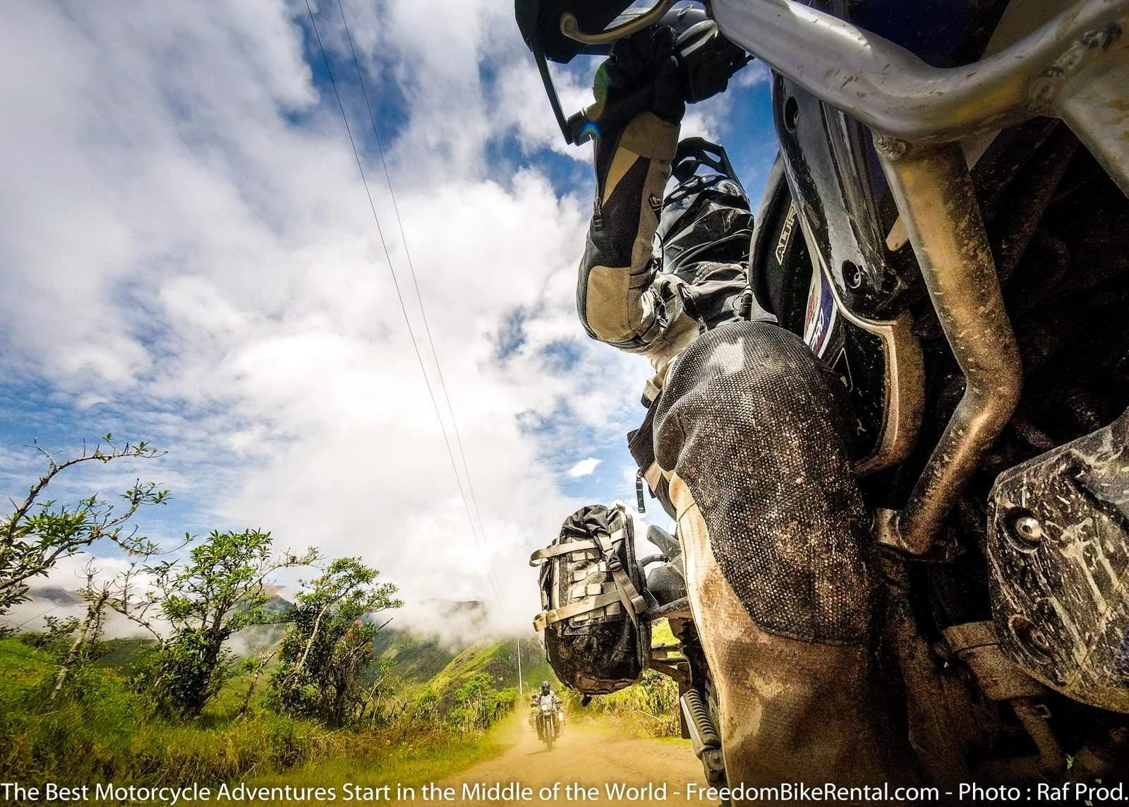 Riding motorcycles unpaved roads in Ecuador