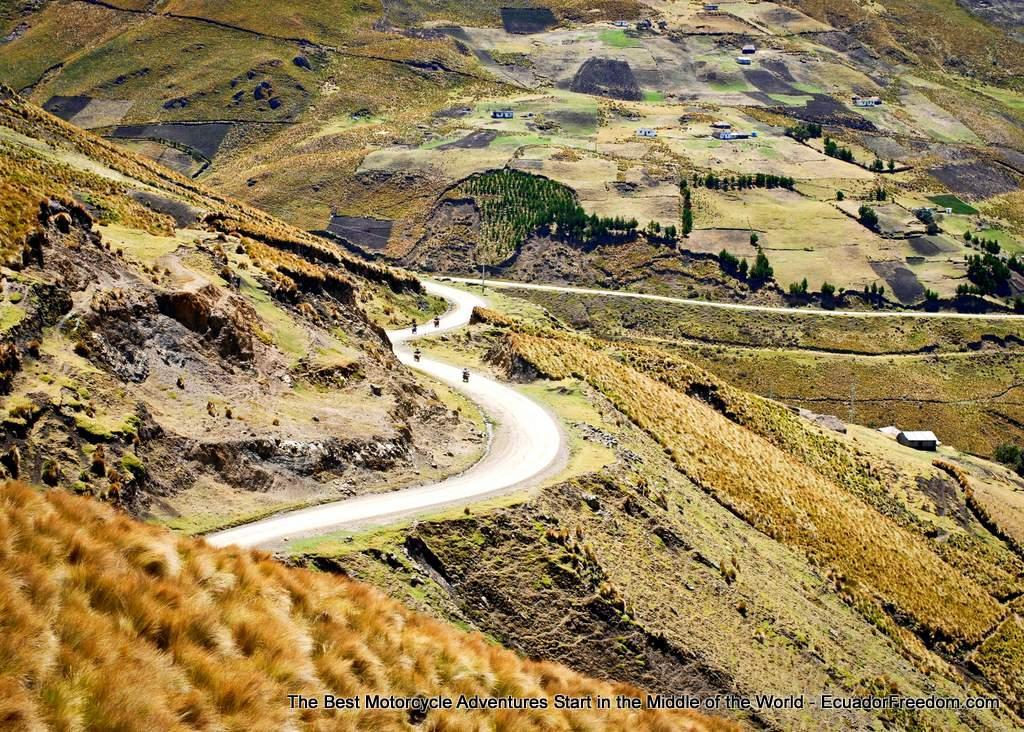 The unpaved road from Zumbahua to El Corazon features in many of our offroad motorcycle tours