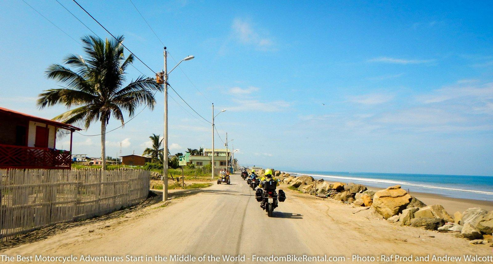 Riding adventure motorcycles on the pacific coast of Ecuador