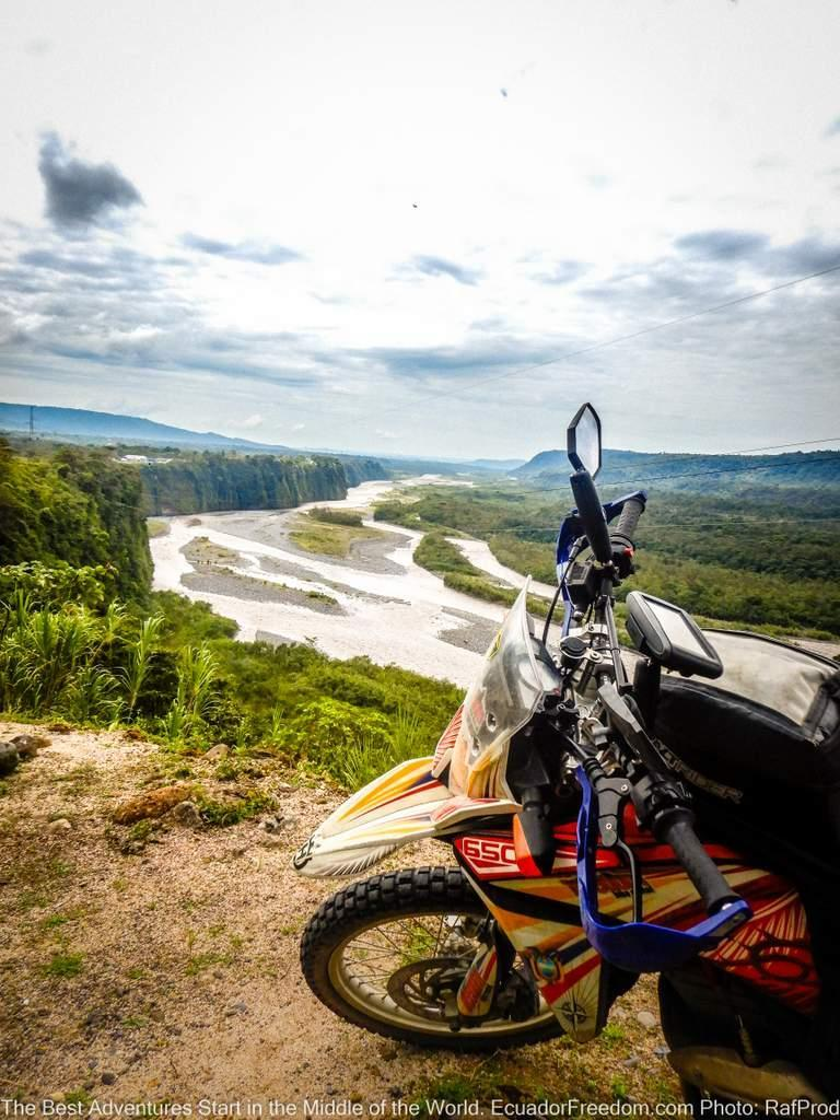 Adventure Motorcycle above the Pastaza River in the Ecuador Amazon basin