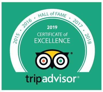 2019 Certificate of Excellence Hall of Fame Award Tripadvisor