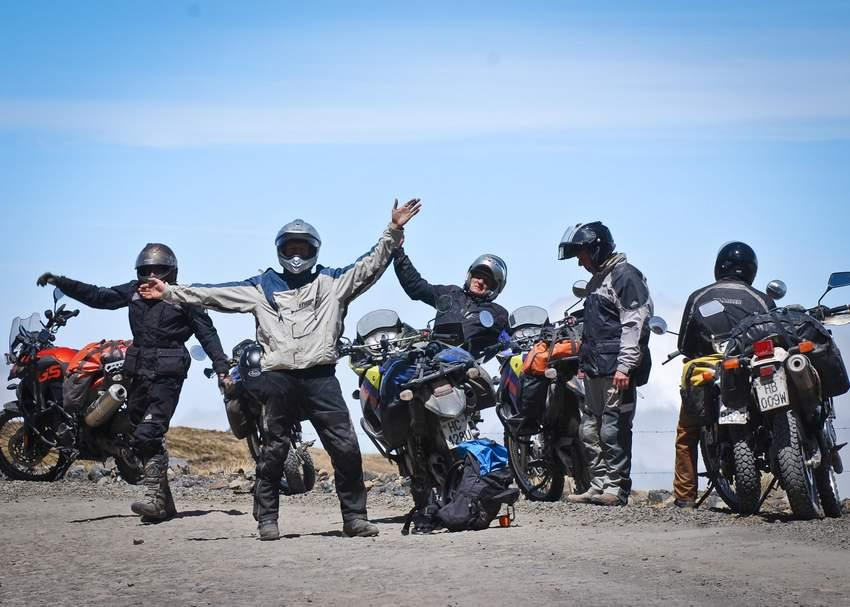 aerial shot of adventure riders on a motorcycle tour in Ecuador