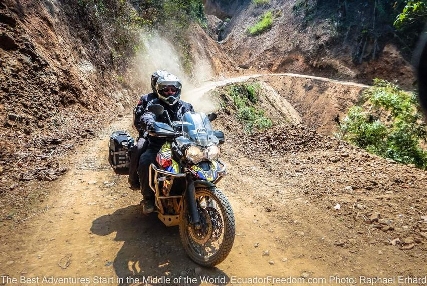 2 up on Triumph Tiger 800XCx in Ecuador on Motorcycle Adventure Tour