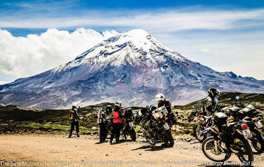 Chimborazo with dual sport motorcyclists in ecuador