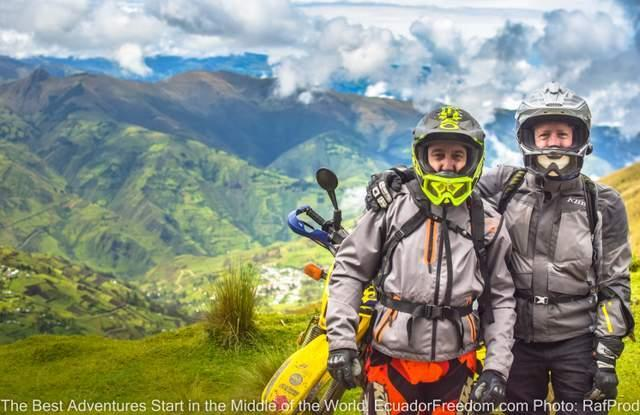 two friends having a blast on a motorcycle tour of ecuador