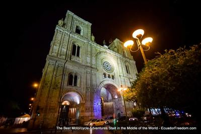 Cuenca Ecuador at night on motorcycle