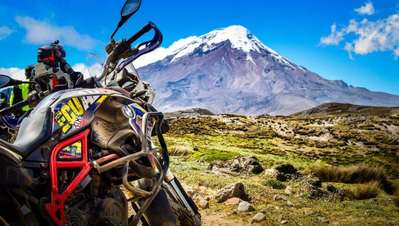 BMW F800GS with Chimborazo in Ecuador edited
