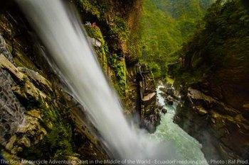 Paillon del Diablo waterfall in Ecuador Motorcycle