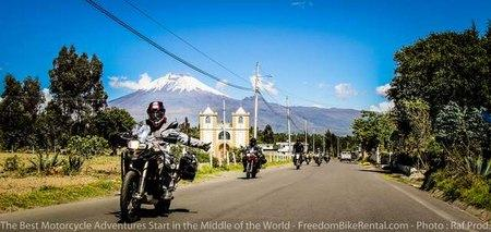 adventure motorcycles with cotopaxi in the background