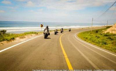 riding motorcycles on the coast of Ecaudor