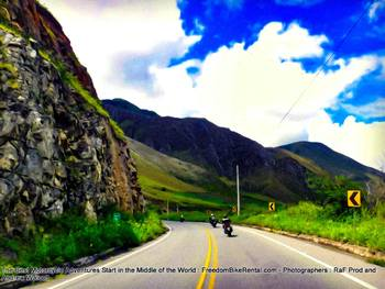 riding motorcycles towards the coast of ecuador