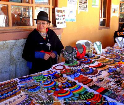 saraguro women selling necklaces