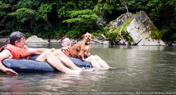 tubing in the Napo river on motorcycle adventure tour in ecuador