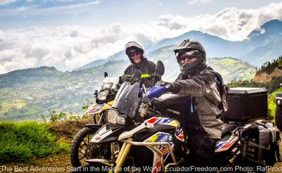 two adventure motorcycles in the southern ecuador andes mountains
