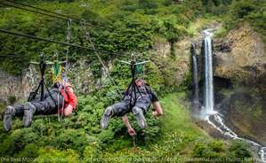 zip line across pastaza river motocycle adventure tour photo