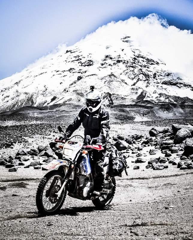 Chimborazo wildlife refuge Suzuki DR650 on motorcycle adventure tour in Ecuador