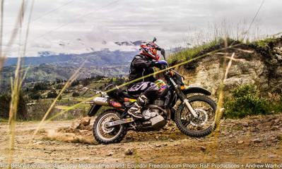 Suzuki DR650 riding dirt road in northern ecuador