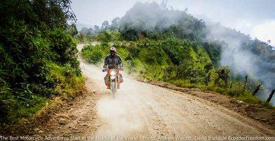 rding up towards las pampas dirt road motorcycle tour ecuador