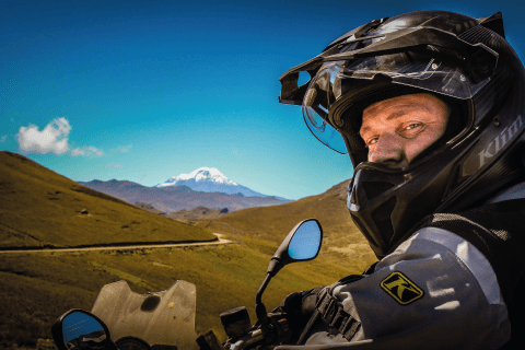 Rider offroad with Chimborazo in background