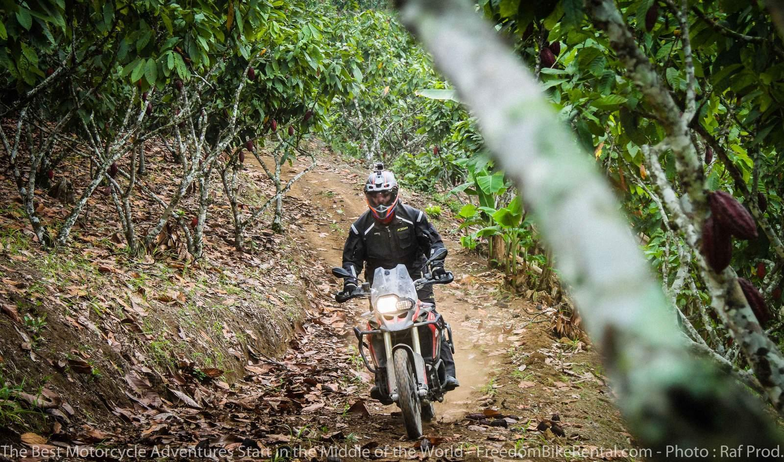 Offroad Motorcycling through chocolate plantation