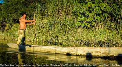 canoe dugout in amazon basin motorcycle adventure