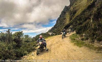 enduro off road motorcycles riding on a tour in northern ecuador