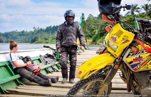 ferry over river offroad pacific discovery route ecuador motorcycle 4x4 adventure