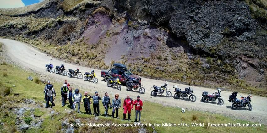group offroad motorcycle tour drone aerial shot