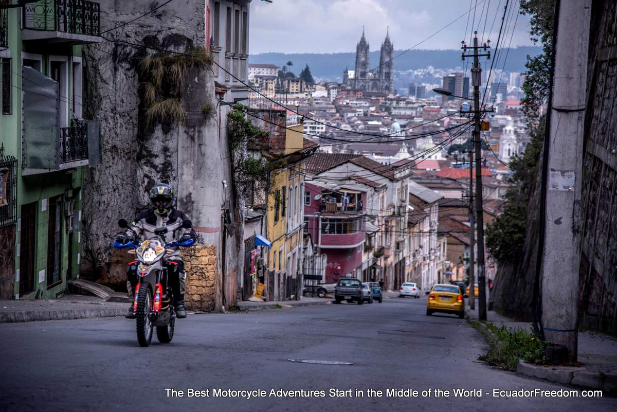 Adventure Motorcycle in the streets of Quito Ecuador