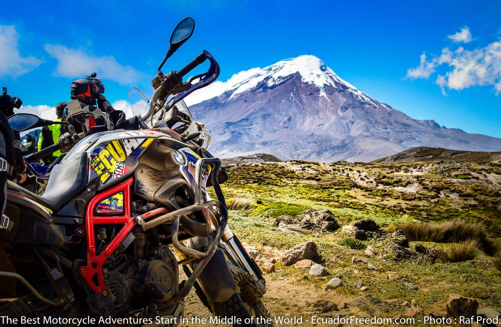 BMW F800GS with Chimborazo in Ecuador