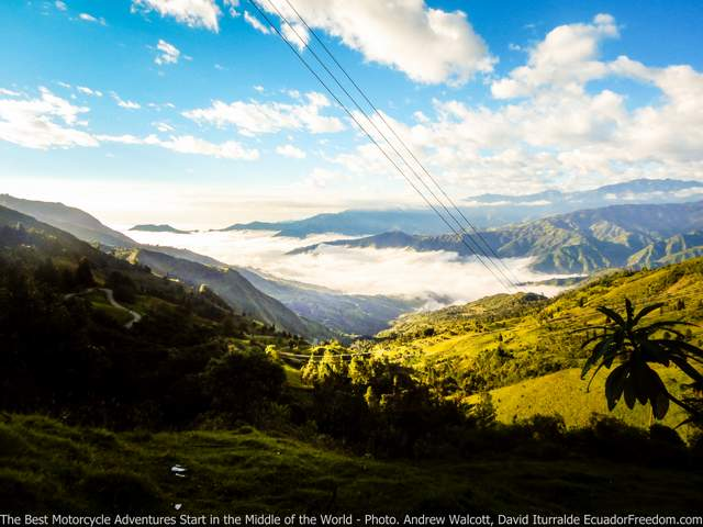 View over mountains on dirt road on way to sigchos from las pampas offroad ecuador motorcycle dirt bike adventure tour