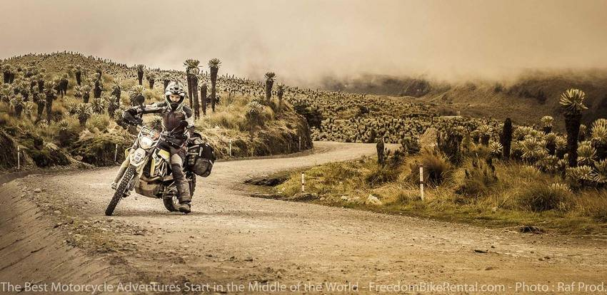 Woman Riding Husqvarna 701 Dual Sport Dirt Bike Motorcyle Adventure Tour Ecuador