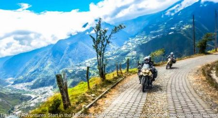 antenna road up from banos ecuador motorcycle adventure tour