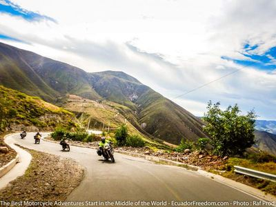 canyon carving on route out of quito motorcycle