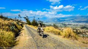 cobbled road latacunga to pujili with motorcycle