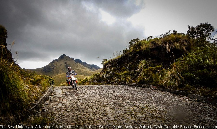 motorcycle riding on  a cobbled road to mojanda lake