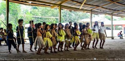 girls and boys traditional dance in community in ecuador amazon