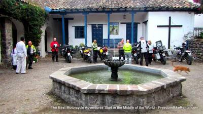 motorcycle tour group at hacienda pinsaqui in ecuador
