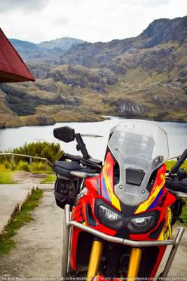 honda africa twin in the cajas national park in ecuador
