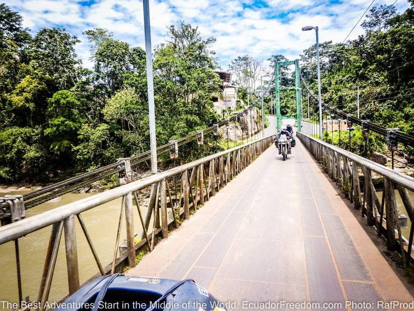 metal bridge misahualli motorcycle adventure