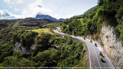 motorcycle tour riding paved road near papallacta ecuador
