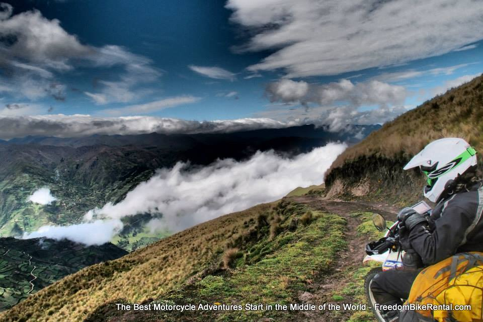 offroad ecuador excursion motorcycle adventure tour climbing up abovd the clouds