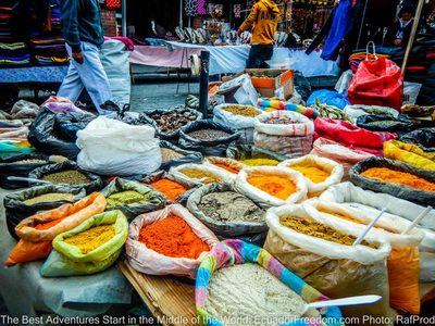 otavalo market spices ecuador motorcycle adventure tour