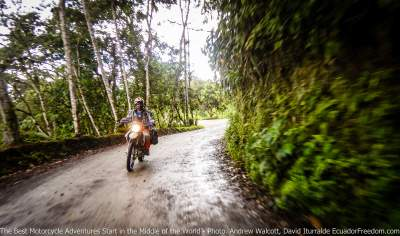 rding motorcycle in ecuador cloudforest