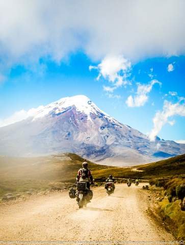 riding adventure motorcycles on dirt road from salinas to Chimborazo Wildlife Refuge