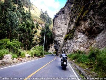 riding adventure motorcycles up the ambato river canyon in ecuador