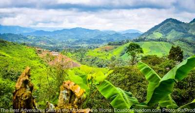view of the green mountains of el oro province in ecuaodor seen on adventure motorcycle tour