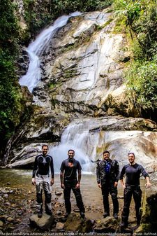 waterfall in golondrina national forest on dirt bike deluxe adventure tour ecuador