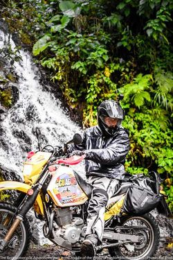 waterfall on hummingbird road mindo quito suzuki dr650 motorcycle adenture tour